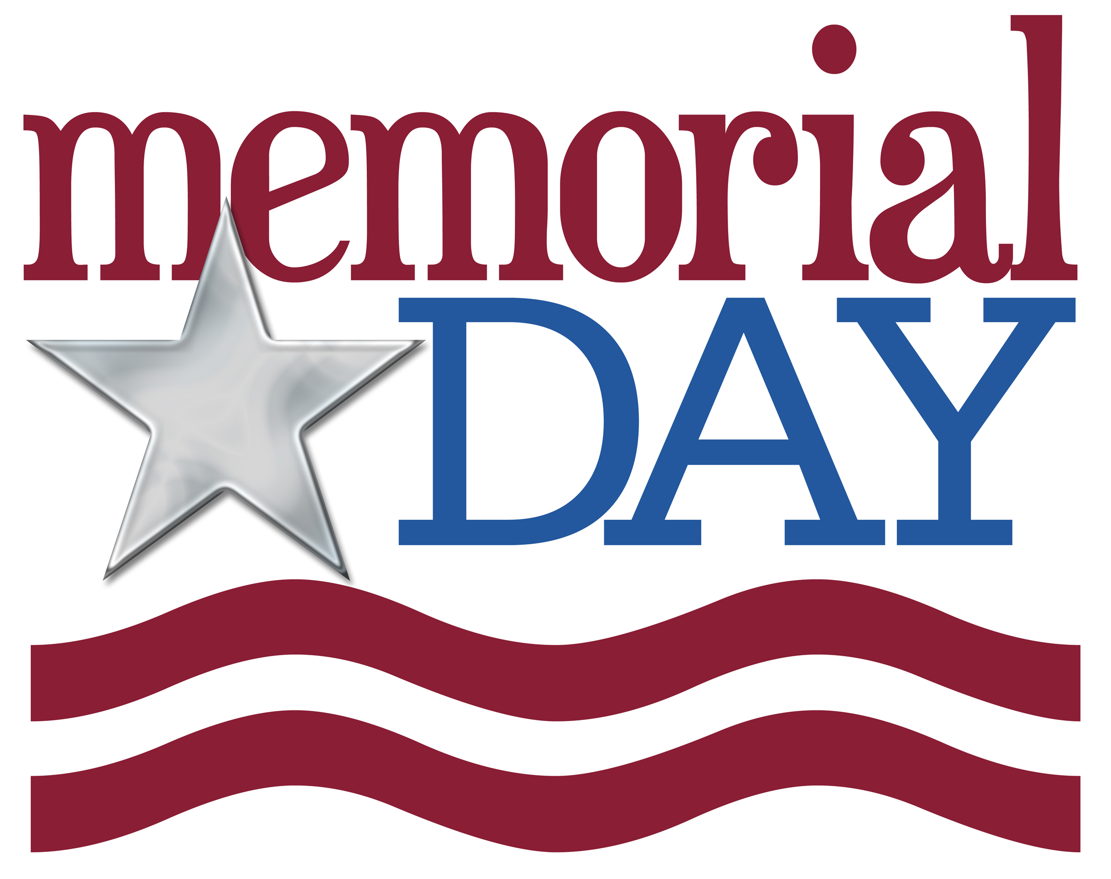 Memorial Day Graphic in Red & Blue with Silver Star